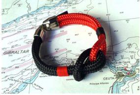 Pulsera marinera de driza color negro y rojo
