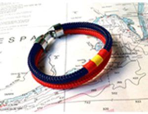 Pulseras con bandera de España náuticas color azul y rojo