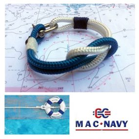 Pulsera náutica con grilletes marineros color blanca