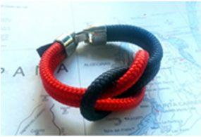 Pulseras náuticas con nudo llano color azul y rojo