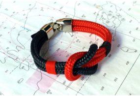 Pulseras náuticas con nudo llano color negro y rojo