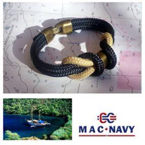 Pulseras marineras con driza color blue y negra