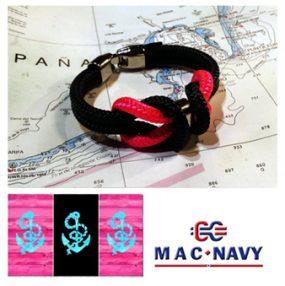 Pulseras náuticas de driza rosa y negra