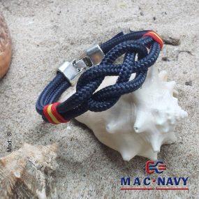 Pulsera náutica de driza azul marino con bandera de España